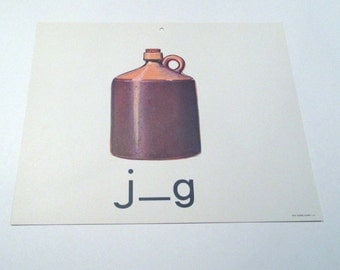 Vintage 1960s Children's Giant Sized School Flash Card with Picture and Word for Jug
