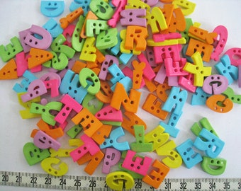 50pcs of  Alphabet Button Letter Button - Random Mixed in Shape and Color Set 031 Green Blue Orange Yellow Pink Purple