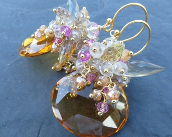 Gemstone earrings in gold - madeira citrine, pink topaz, apricot quartz - candlelight bonfire - golden glow - beaded cluster - wire wrapped