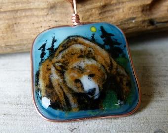 Brown bear - fused glass pendant,