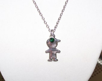 Little Boy Birthstone Necklace for Mom or Grandmother for May