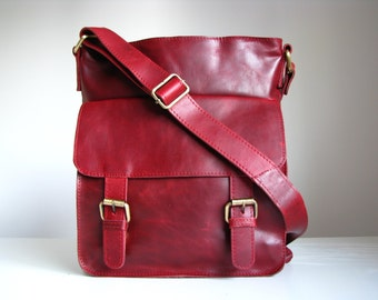 Leather Handbag Messenger, Vintage Red
