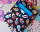 Russian doll fabric Ipad cover cozy sleeve with front pocket fits ipad with magnetic cover on