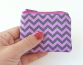 purple chevron fabric small change purse. flash drive case. d ring lobster claw key chain. jewelry pouch small. ear bud pill safety pin case