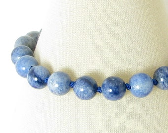 Handknotted Blue Aventurine and Sterling Silver Bracelet