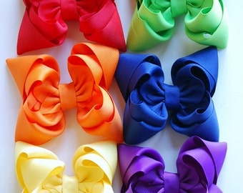 boutique set of CLASSIC RAINBOW double layered hair bow clips