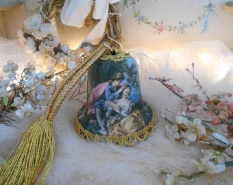 vintage courting scene satin bell music box, plays le vie en rose, gold braid trim & tassel, romantic french chic, paris apartment, working