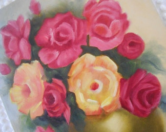 """vintage colorful roses painting, original painting on canvas, cottage chic roses, unframed, 14"""" by 18""""  bright pink, apricot, yellow, coral"""