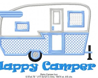 "SFancy Applique Retro ""Happy Camper"" 7 x 5"
