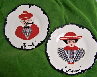 50's  Hank and Anne Plates Kitsch Kitchen Folk Art Gingham Personalized
