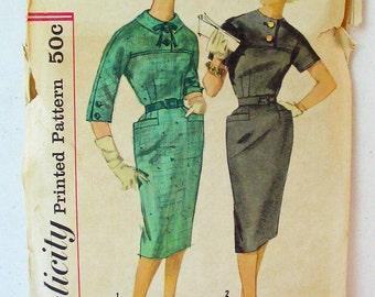 "Simplicity 3152 60s Belted Sheath Dress with Saddle Yoke, Kimono Sleeves, Flared Hip Welt Pockets Bust 34"" vintage size 14 = modern size 12"