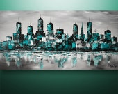 Abstract Painting, Cityscape Painting, Skyline Painting, Large Painting, Wall Art, Wall Decor, Art by Gabriela, Teal, Art, Made To Order