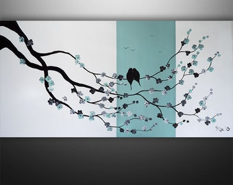 Abstract Painting, Birds Painting, Landscape Painting, Tree Painting, Wall Art, Wall Decor, Large Painting, Black White Teal, Made To Order