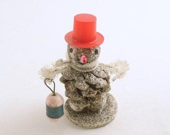 Vintage Christmas Ornament Snowman Pine Cone