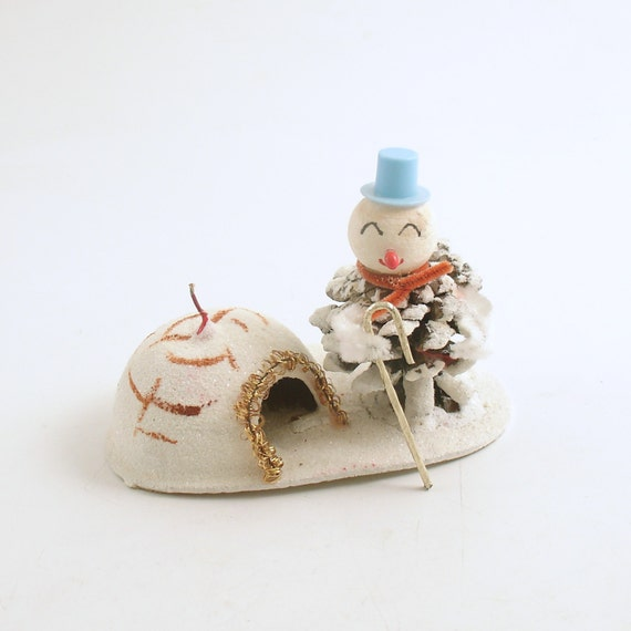 Vintage christmas decoration snowman pinecone with igloo for Arland decoration
