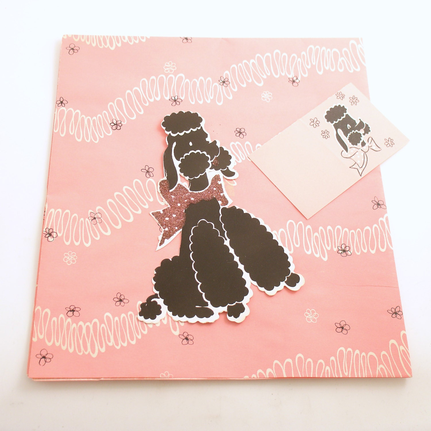 Vintage Gift Wrap Wrapping Paper Gift Card Poodle By