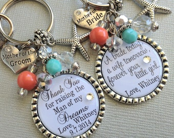 MOTHER of the GROOM gift mother of bride, PERSONALIZED keychain, starfish,Thank you for raising man of  my dreams, beach wedding, teal coral