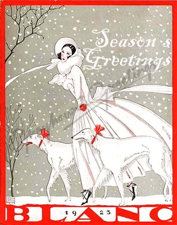 Art Nouveau Sighthound Season's Greetings Cards Set of