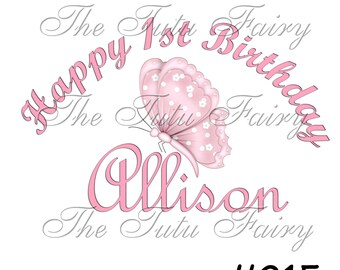 Pink Butterfly Birthday shirt t-shirt name age personalized baby toddler 12 18 2t 3t 4t 5t 5/6 7 1st first