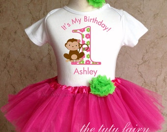 Monkey Love green 1st 2nd Birthday Personalized Name Age Shirt & Pink Tutu Set outfit girl 6 12 18 24 months Baby Toddler optional Headband