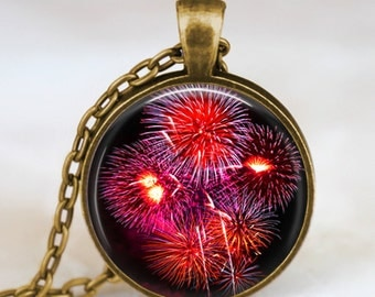 Fireworks new year pendant,  happy new year necklace , fireworks red dandelion necklace, friend family new year festive jewelry