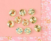 Sale - 10pcs handmade cute animals in vintage style round clear glass dome cabochons 12mm (12-1113)
