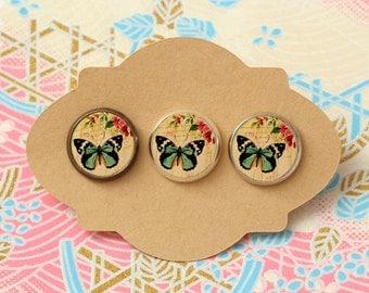 10 pcs handmade butterfly - earrings, pendant, ring - 12mm (PW-0878 3)
