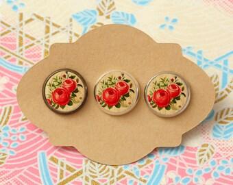 10 pcs handmade flower - earrings, pendant, ring - 12mm (PW-0022)
