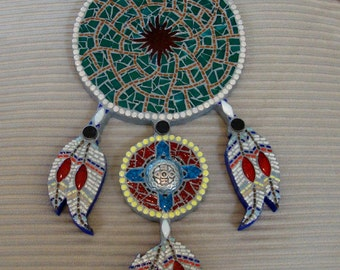 DreamCatcher Mixed Media Mosaic Native American Inspired