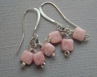 Rhodochrosite Chicklets Earrings