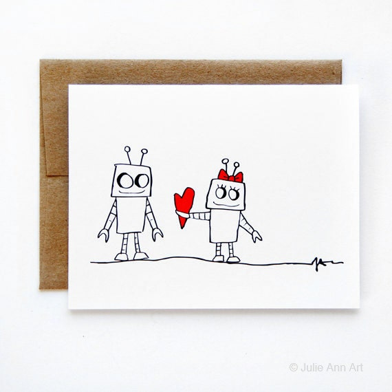 Nerdy Love Card - Geeky Card -  Robot Love
