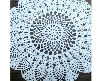 "White Cotton Crochet Rug in Large 45"" Circle Pineapple Lacy Pattern Non Skid"