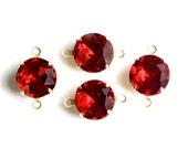 Vintage Ruby Red Glass Stones 2 Loop Brass Settings 12mm rnd004HH2