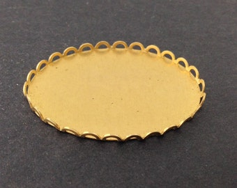 Raw Brass Lace Edge Settings 40x30mm stn003A