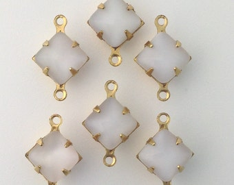 White Moonstone Square Glass Stones in 2 Loop Brass Setting 8mm (6) squ002VV2