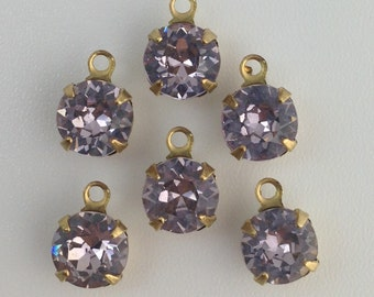 Vintage Light Amethyst Faceted Glass Stone 1 Loop Brass Setting Drops 7mm (6) rnd001KK