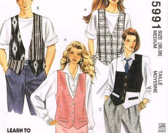 5991 mccalls misses men and teen boys vest with buttons, back ties, flaps, pocket sewing pattern size medium bust 36 38 vintage 1990 uncut