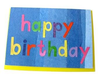 Birthday Day Card // Blank // Collage Art Card // Rainbow