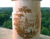 Antique Canister with Lid-  Royal Crownford Ironstone by Arthur Wood - Safe Harbour - Brown Transferware - Made in England