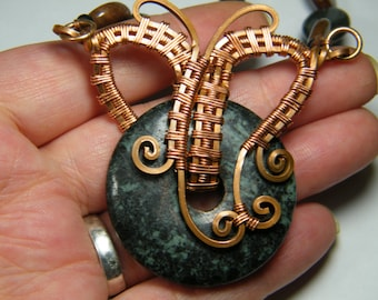 Marble and Feldspar woven wire wrapped beaded necklace in copper