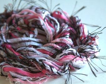 Fibers Lot - Craft Supplies - Dreamcatcher - Pink and Licorice - Altered Art Supplies - Knitting Supplies - Crochet Supplies
