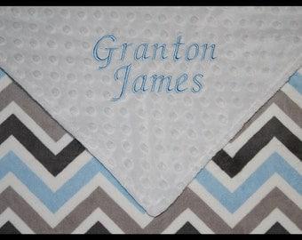 Chevron Blanket~Baby Boy Blanket~Personalized Boy Boutique Chevron Blue and White Large Minky Blanket