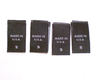 Size Tags, Sew in Garment Tags, Black S Made in USA, Set of 20, Small Tags