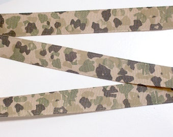 Camouflage Ribbon, Brown and Green Camouflage Grosgrain Ribbon 5/8 inch wide x 7 yards, SECOND QUALITY FLAWED