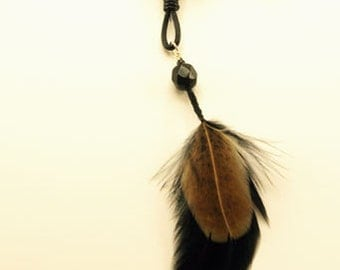 Feather, Leather and Copper Bead Necklace