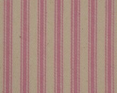 Vintage Inspired Pale Pink Woven Cotton Ticking Stripe Material 1 Yard