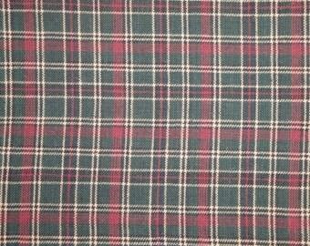 Hunter Green Multi Plaid Cotton Homespun Material Destash 54 x 44