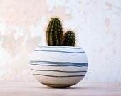 ceramic mini planter for cactus, succulent or air plant. colorful porcelain planter (dark blue / black stripes). Crafted by Wapa Studio.
