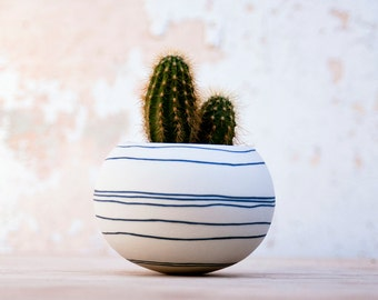colorful porcelain planter (dark blue / black stripes). Ceramic planter for cactus, succulent or air plant. Crafted by Wapa Studio.