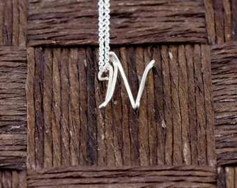 Sterling Silver Wire Wrapped Initial Pendant and Necklace - Letter N